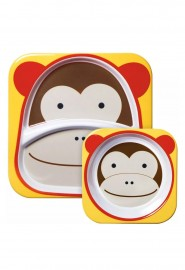 Kit Set De Pratos Skip Hop Zoo Macaco